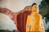 stock photo of yangon  - The 100 Buddha image in Ngahtatgyi Paya Yangon Myanmar - JPG