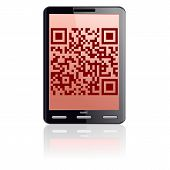 picture of qr codes  - Tablet computer  with QR code - JPG