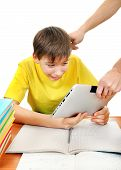 stock photo of loafers  - Parent dragging Tablet from the Son Isolated on the White Background - JPG