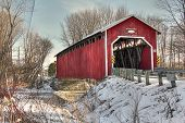 pic of covered bridge  - Red Covered bridge from Eastern Townships near the US border - JPG