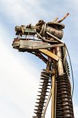 stock photo of scrap-iron  - Various scrap metal welded together to create a cow head - JPG