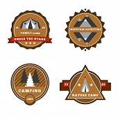 stock photo of wigwams  - Set of camping and outdoor adventure stickers logo badges labels - JPG