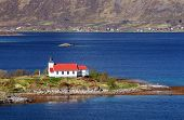 picture of fjord  - Church in fjord on Lofoten islands in Norway - JPG