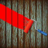 pic of roller door  - Vector paint roller and an old wooden fence - JPG