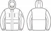 picture of hoods  - Vector illustration of winter work hooded jacket - JPG