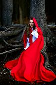 pic of cloak  - beautiful woman with red cloak posing in the woods - JPG