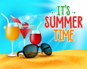 stock photo of horizon  - Summer Time Title in Sand and Horizon Background with Drinks or Cocktail Glasses and Shades for Party in Beach Sea Shore - JPG