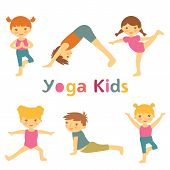 image of yoga instructor  - Cute yoga kids colorful collection - JPG