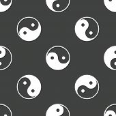 stock photo of yin  - Yin and yang symbol repeated on grey background - JPG