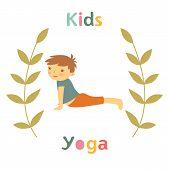 stock photo of yoga instructor  - Cute yoga kids card with little boy doing yoga - JPG