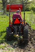 picture of plow  - A older farmer using his compact tractor to plow his small garden patch - JPG