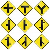 stock photo of intersection  - Collection of different intersection warning signs in Chile - JPG