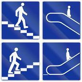 pic of escalator  - Collection of Polish information signs for escalators and stairs - JPG