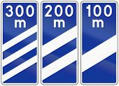 image of countdown  - Polish highway countdown markers announcing highway exit - JPG