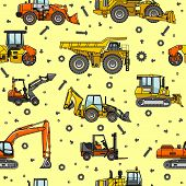 foto of heavy equipment  - Detailed seamless background with heavy equipment and machinery - JPG