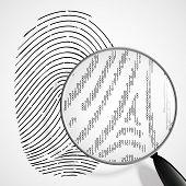 stock photo of fingerprint  - fingerprint and magnifying glass on a white background - JPG