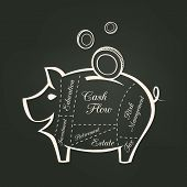 pic of piggy  - Piggy Bank Cuts with Money Savings Financial concept on Chalkboard Background - JPG