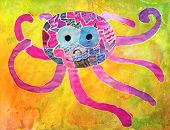 stock photo of octopus  - Aquarelle octopus drawing by a five years old child - JPG