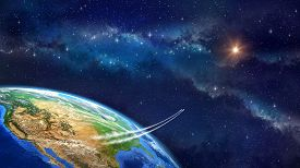 picture of lifting-off  - Very high definition picture of planet earth in outer space - JPG