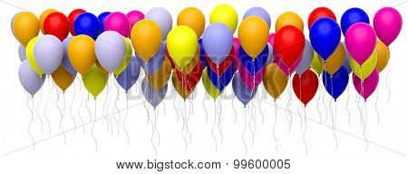 Colorful blank balloons isolated on white background