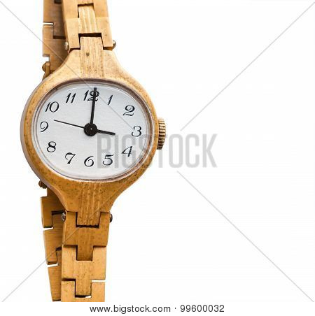 Golden Wristwatch On The White Background