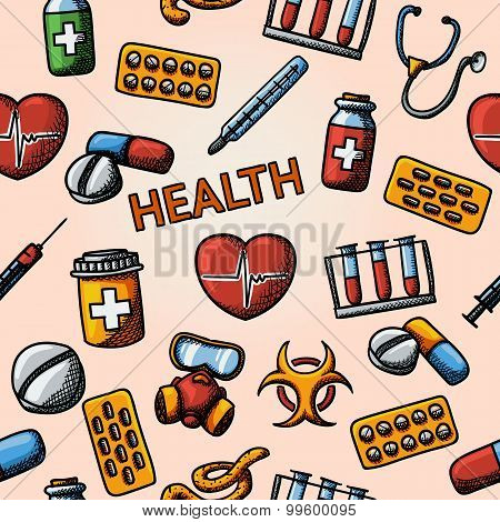 Seamless health handdrawn pattern with - stethoscope, heart, thermometer, pills, bio hazard sign, sy