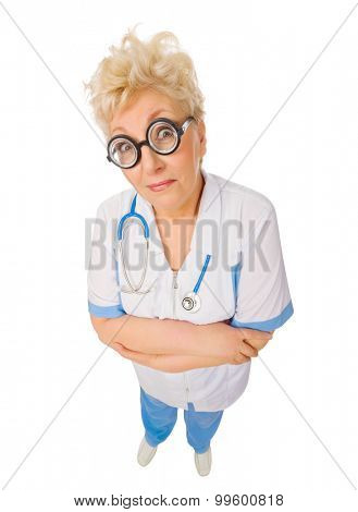 Mature funny doctor with nerd glasses isolated