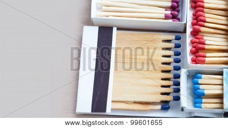 Wooden Colorful Matchsticks In The Boxes.