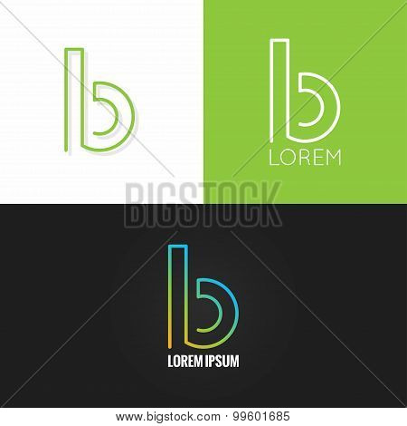 letter B logo alphabet design icon set background