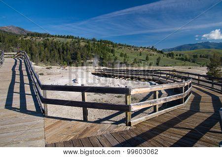 Empty Boardwalks At Mammoth Hot Springs