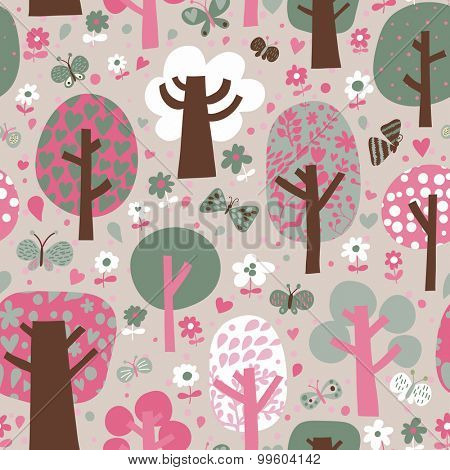 Lovely outdoor concept seamless pattern. Cartoon trees and butterflies in vector background. Seamless pattern can be used for wallpaper, pattern fills, web page backgrounds, surface textures