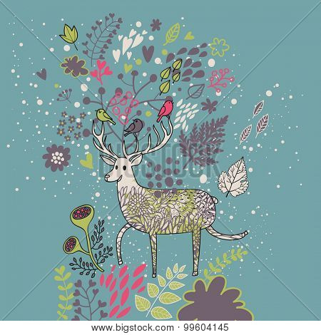 Lovely cartoon deer with birds in leafs and flowers. Nice summer illustration in vector