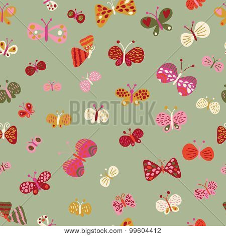 Lovely summer wallpaper made of butterflies. Gorgeous seamless floral background