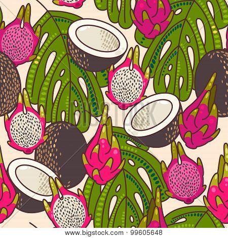 Seamless Pitaya And Coconut