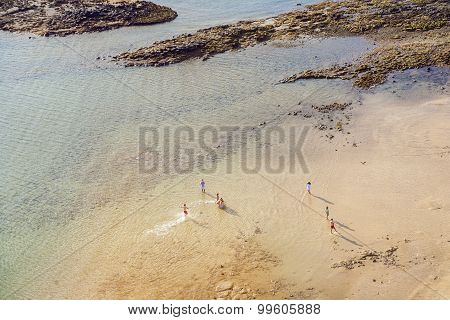 Beach With Tourists In Summer In Arrecife, Spain