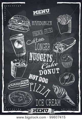 Fastfood vector menu.