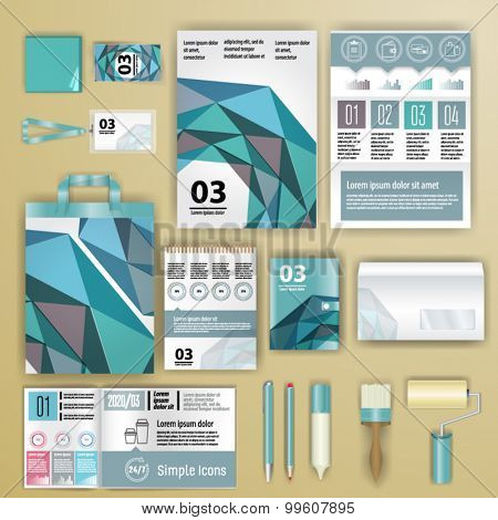 Geometry corporate identity template design with statistics and infographics. Cover layout. Business stationery.