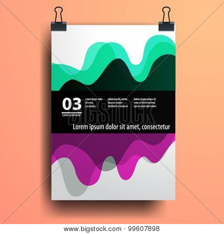 Color application poster or magazine cover template design for corporate identity with geometry shapes. Stationery set