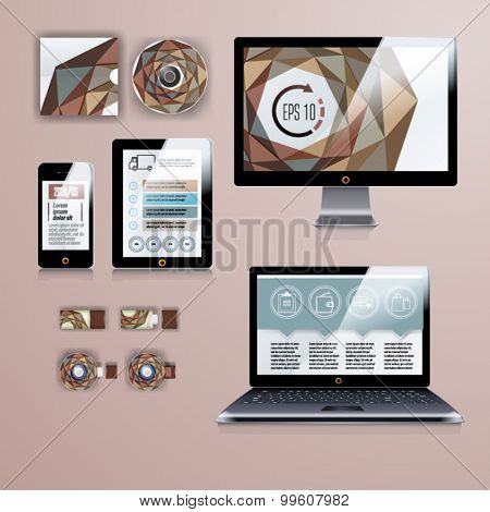 Geometry application template design for corporate identity with infographics. Stationery set