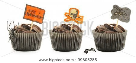 Halloween cakes with decoration set isolated on white