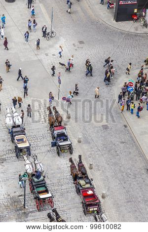 Aerial Of Crowded Stephansplatz In Vienna With Fiakers