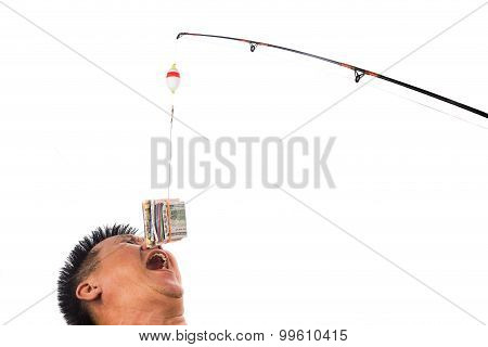 Concept Of People Reaching For Money Bait Casted On Fishing Line