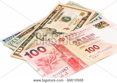 Close Up Of Hong Kong Currency Note Against Us Dollar