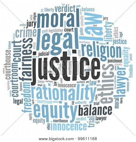 Justice in word collage