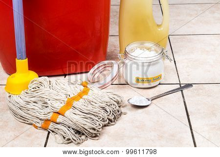 Baking Soda With Pail, Mop, Detergent For House Cleaning.