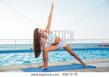 Portrait of a young fitness woman working out outdoors