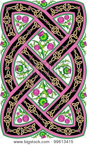 Beautiful Celtic Pattern With Flowers Thistle.eps