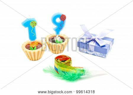 Cakes With Nineteen Years Birthday Candles, Whistle And Gift