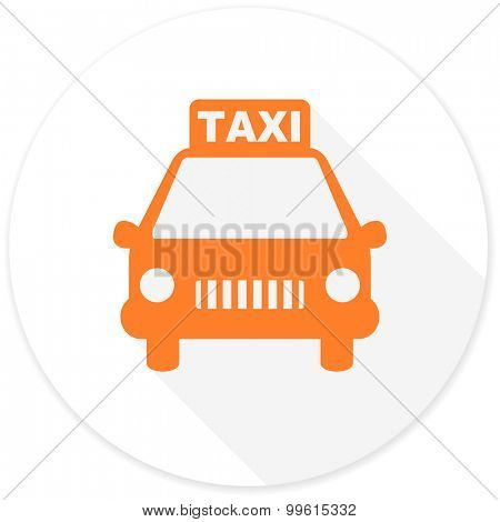 taxi flat design modern icon with long shadow for web and mobile app