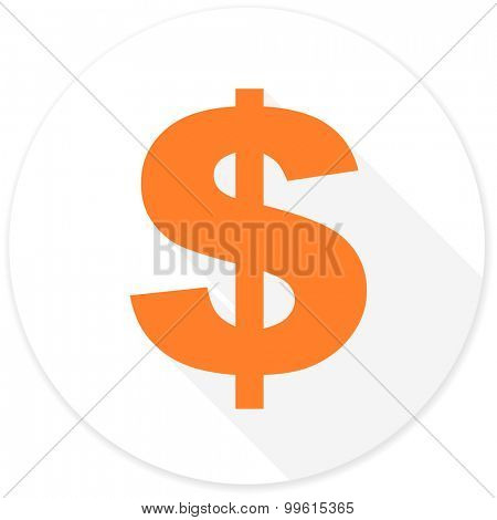 dollar flat design modern icon with long shadow for web and mobile app